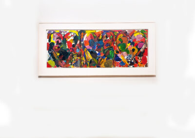 Install view of triptych painting of hearts on canvas by Jim Dine
