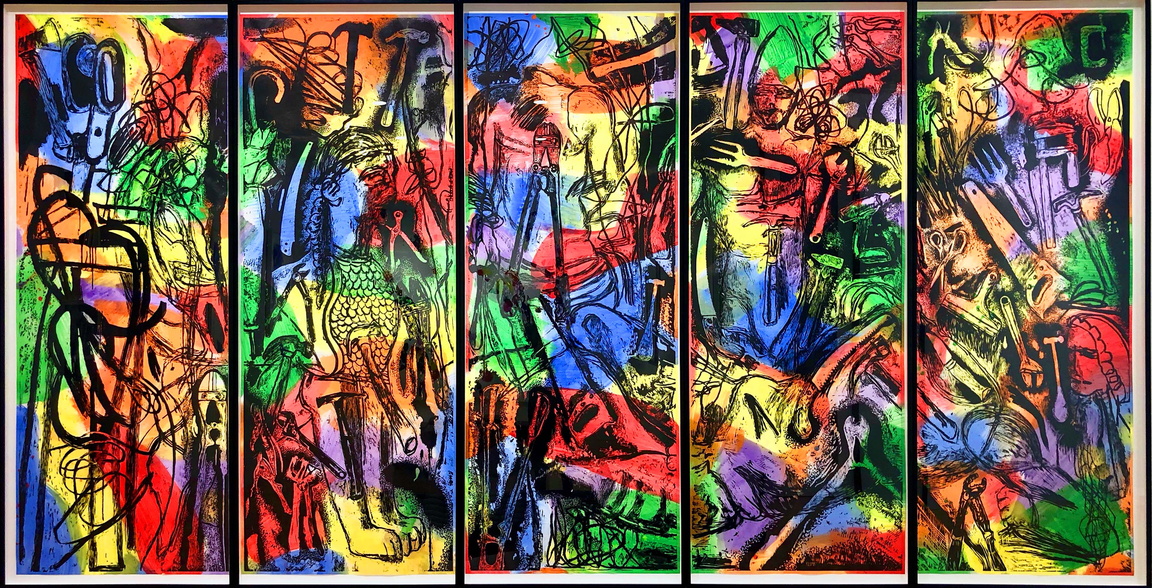 Brightly colored 5-panel print of tools and figures by Jim Dine
