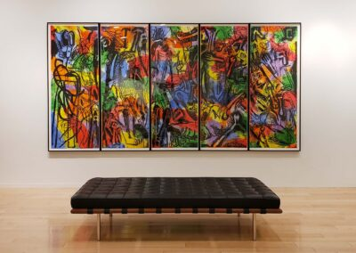 Installation view of five-part hand-colored print by Jim Dine with modern chaise in foreground