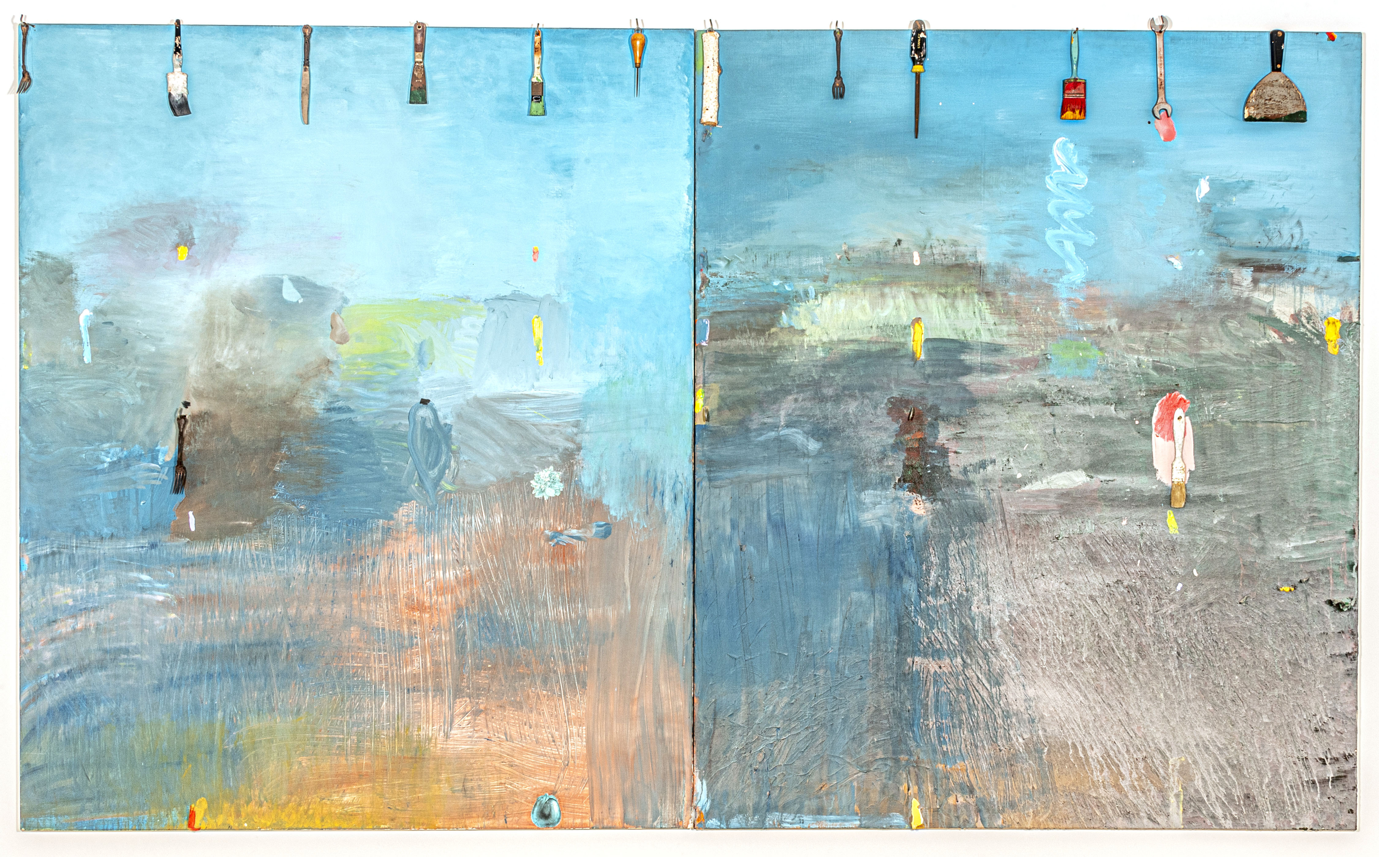 Diptych painting with tools and implements attached to the top by Jim Dine