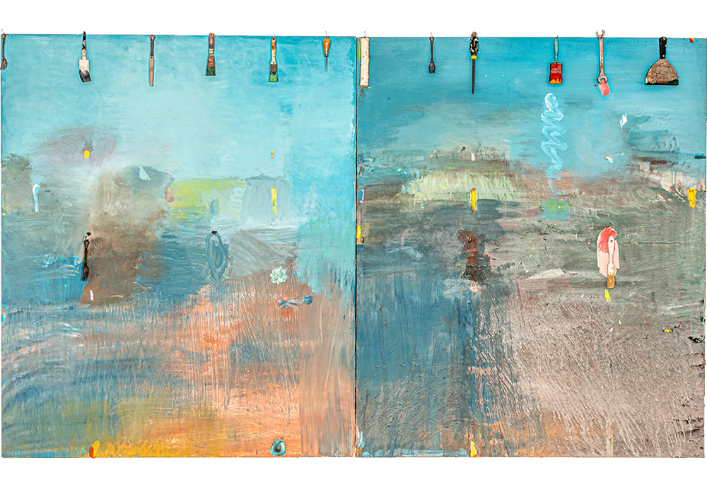 Large abstract diptych with tools and implements attached by Jim Dine