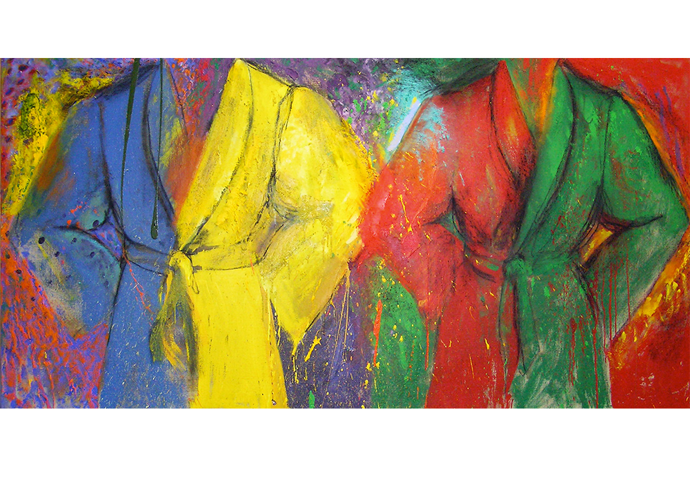 Brightly colored diptych painting of robes by Jim Dine