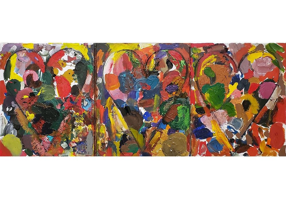 Three part Jim Dine abstract heart painting