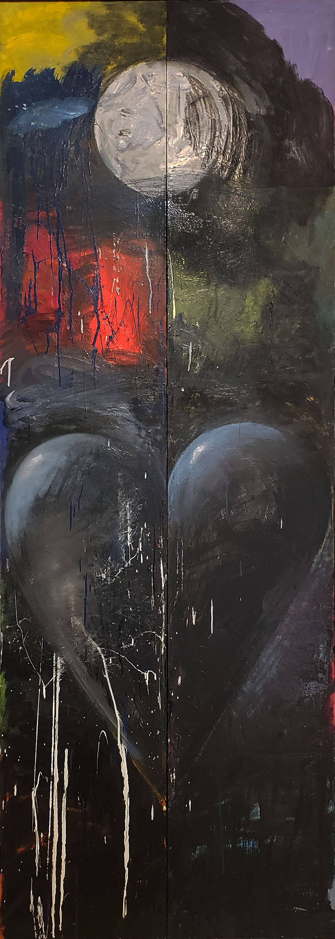 Large vertical painting of a black heart and the moon by Jim Dine