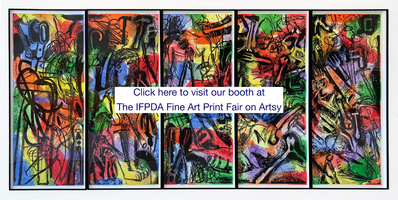 Invitation to visit IFPDA Fair superimposed over Jim Dine 5-part print