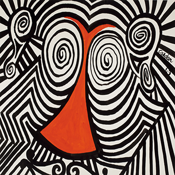 Black, white and red colorful calder gouache