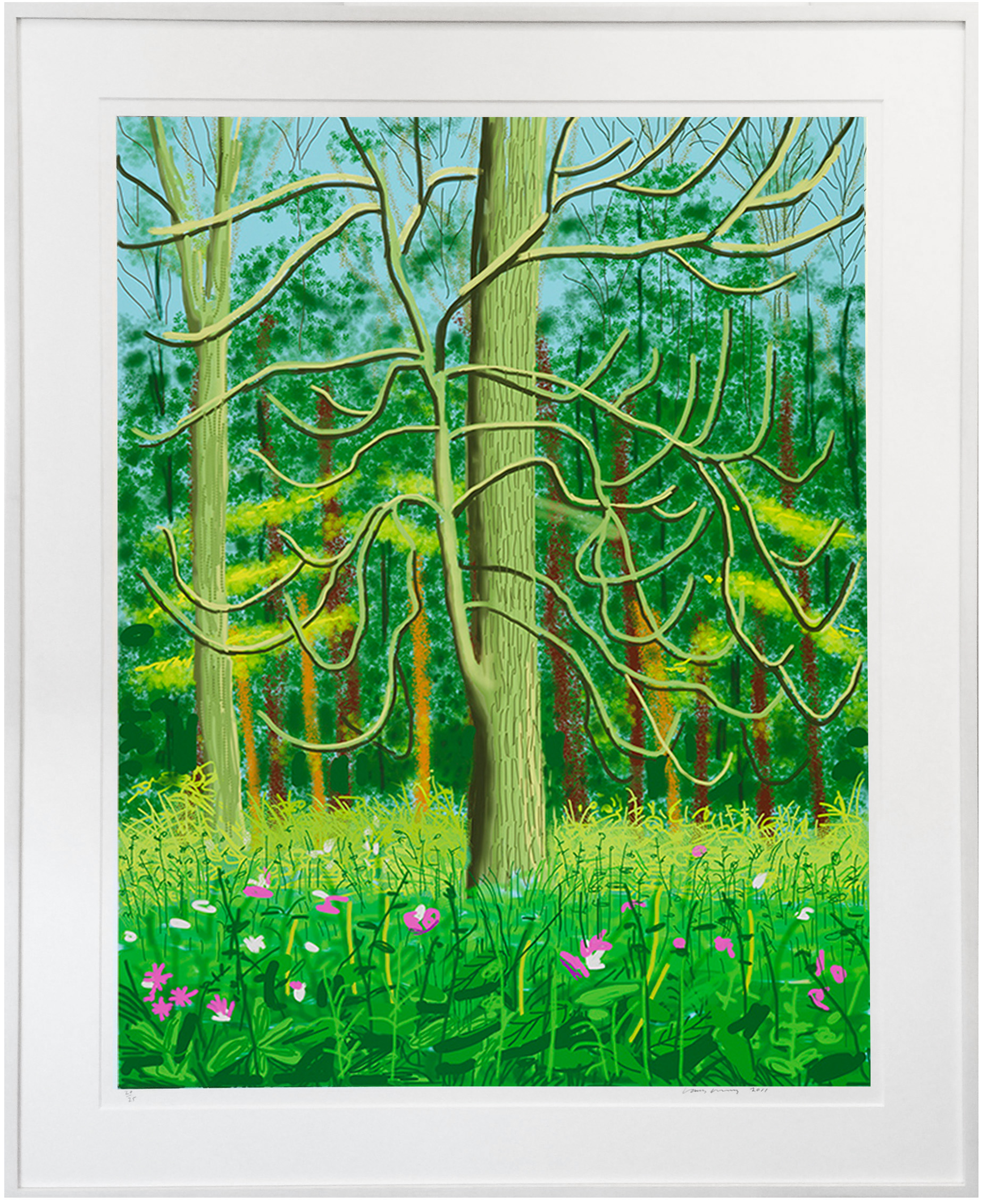 iPad drawing of the English countryside by David Hockney