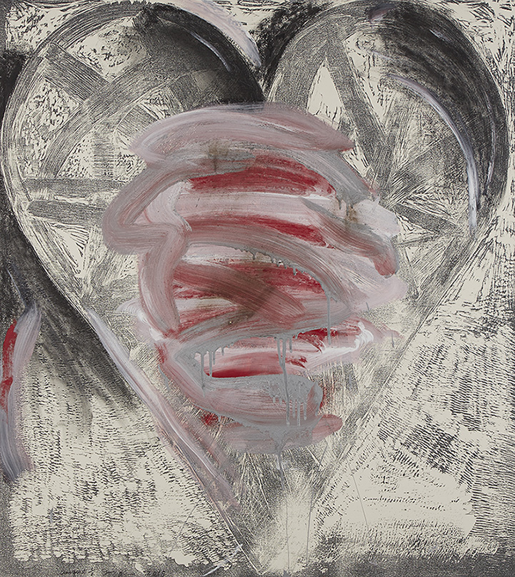 Grey and Red Jim Dine Heart Print