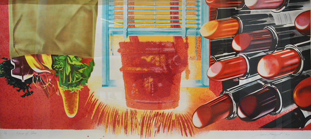 James Rosenquist print with lipstick house of fire