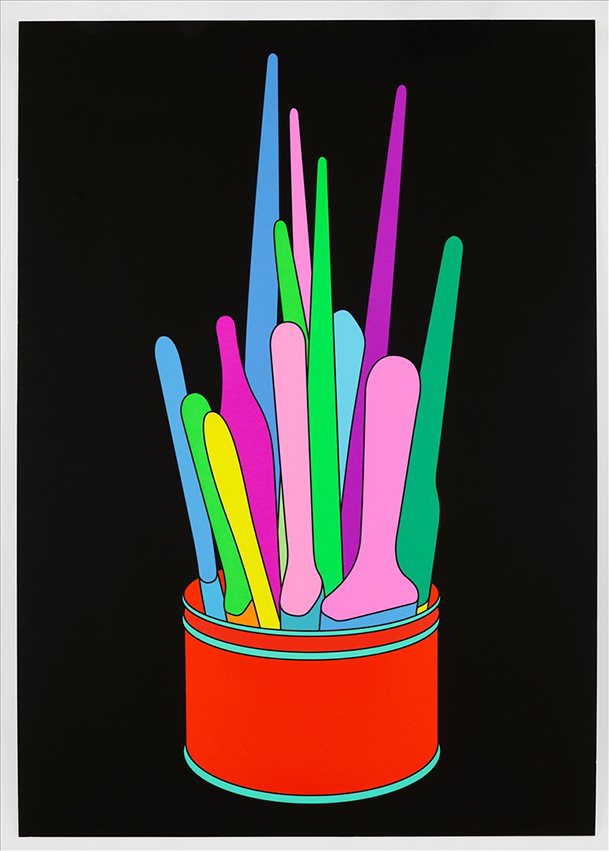 Michael Craig-Martin Print of Colorful Paintbrushes