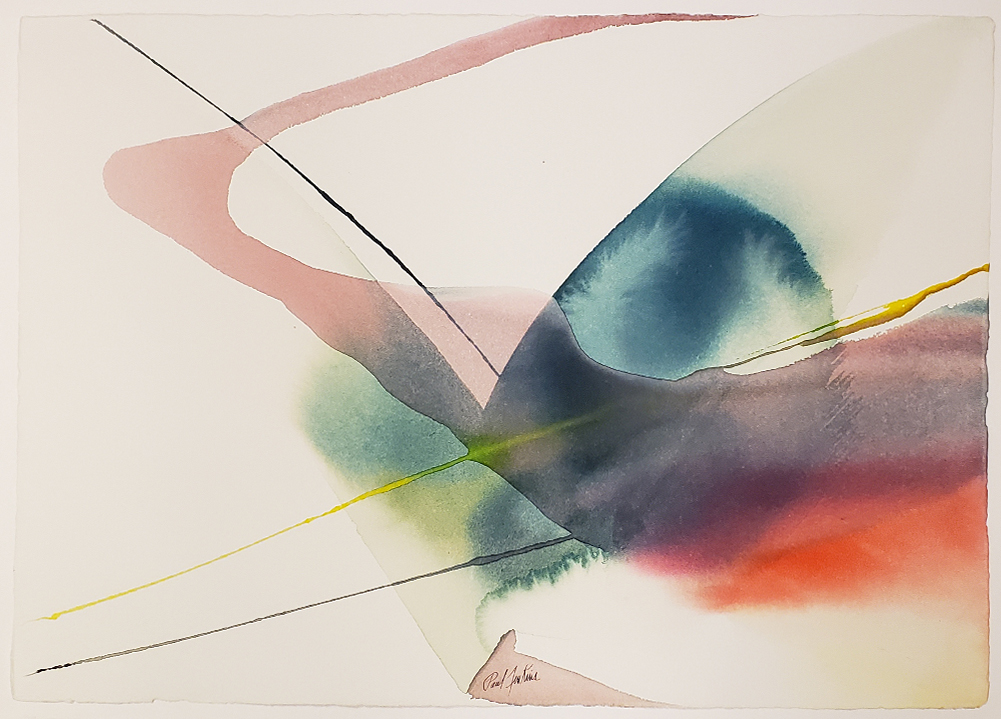 """Paul Jenkins painting on paper """"with flight passage"""""""