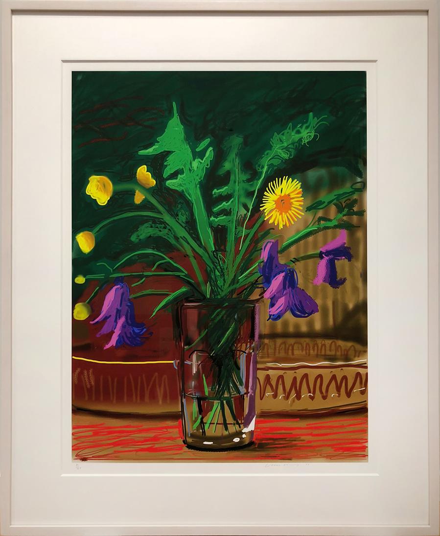 Colorful iPad drawing of dandelions by David Hockney