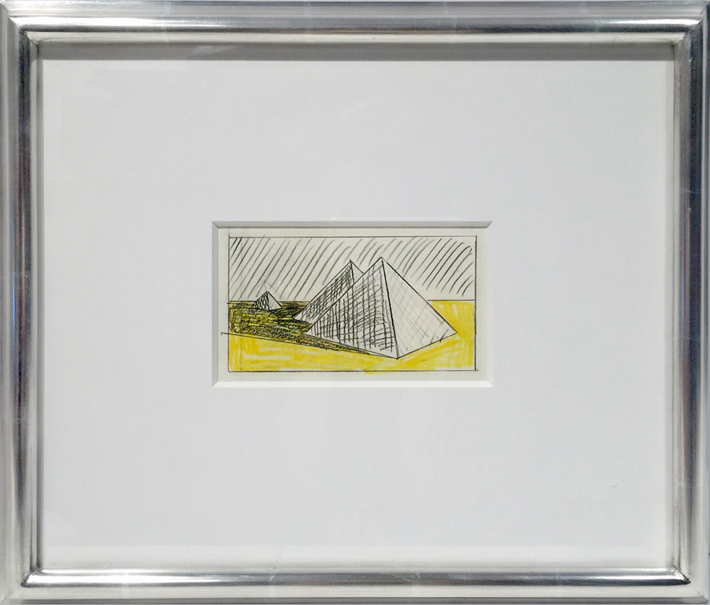 framed Roy Lichtenstein drawing of pyramid with yellow