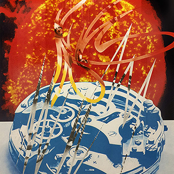 Thumbnail of Abstract James Rosenquist Print in Red and Blue