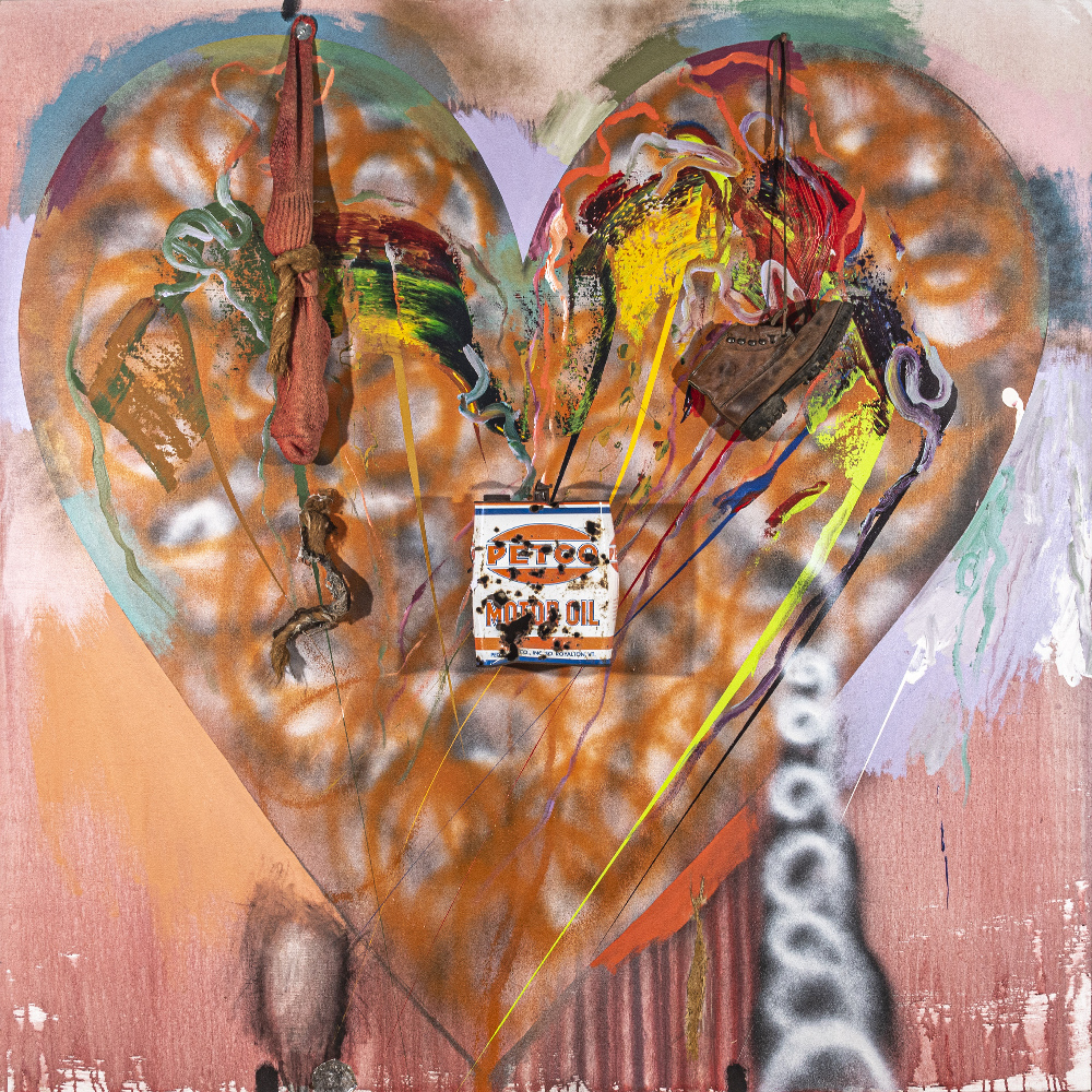 Jim Dine Hearts canvas with oil can and shoe from 1970s