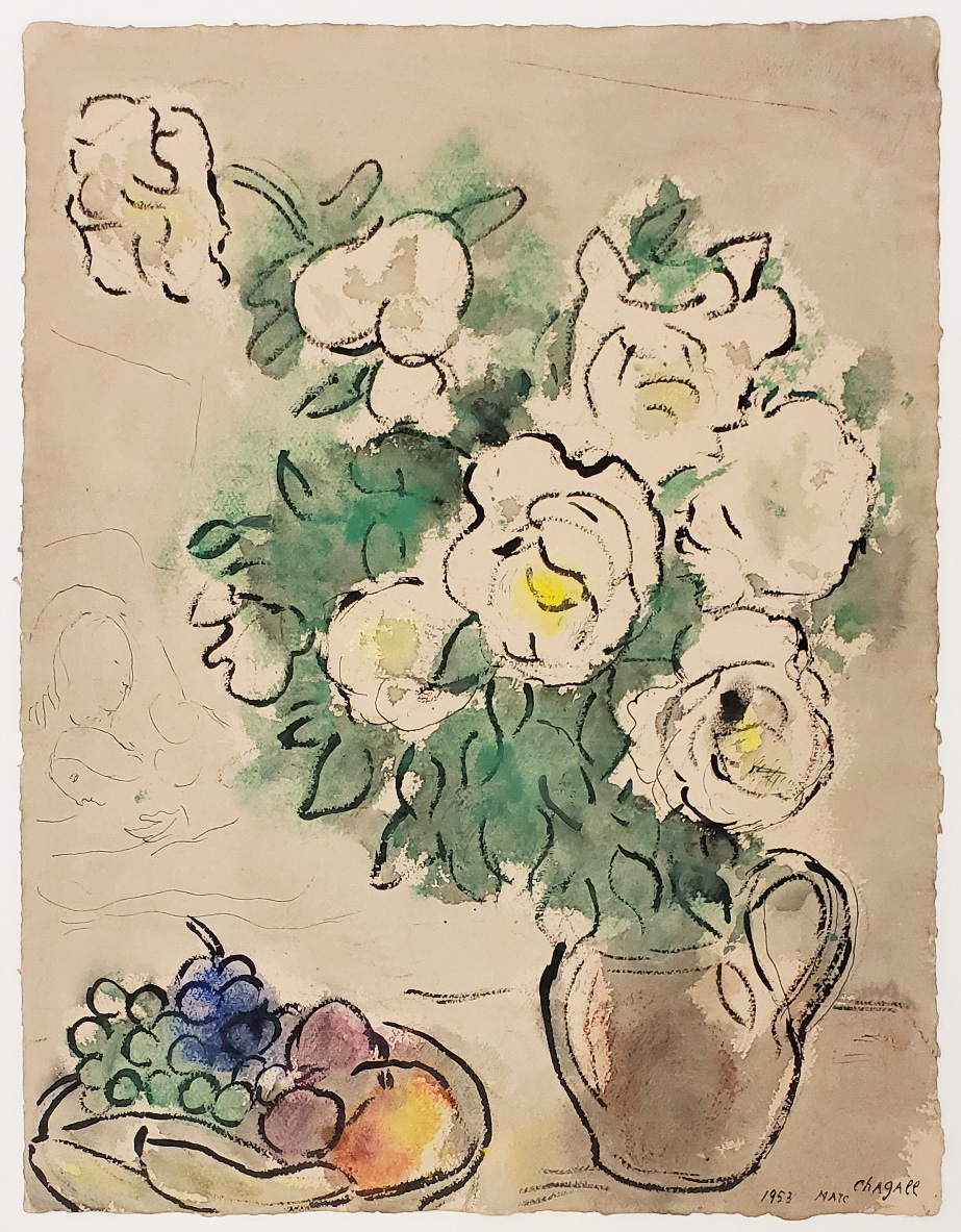 Marc Chagall Painting of roses in earth tone colors