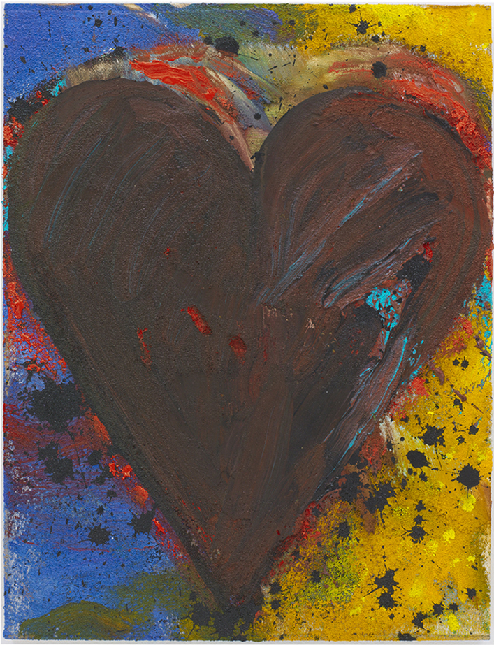Jim Dine textured heart painting on canvas