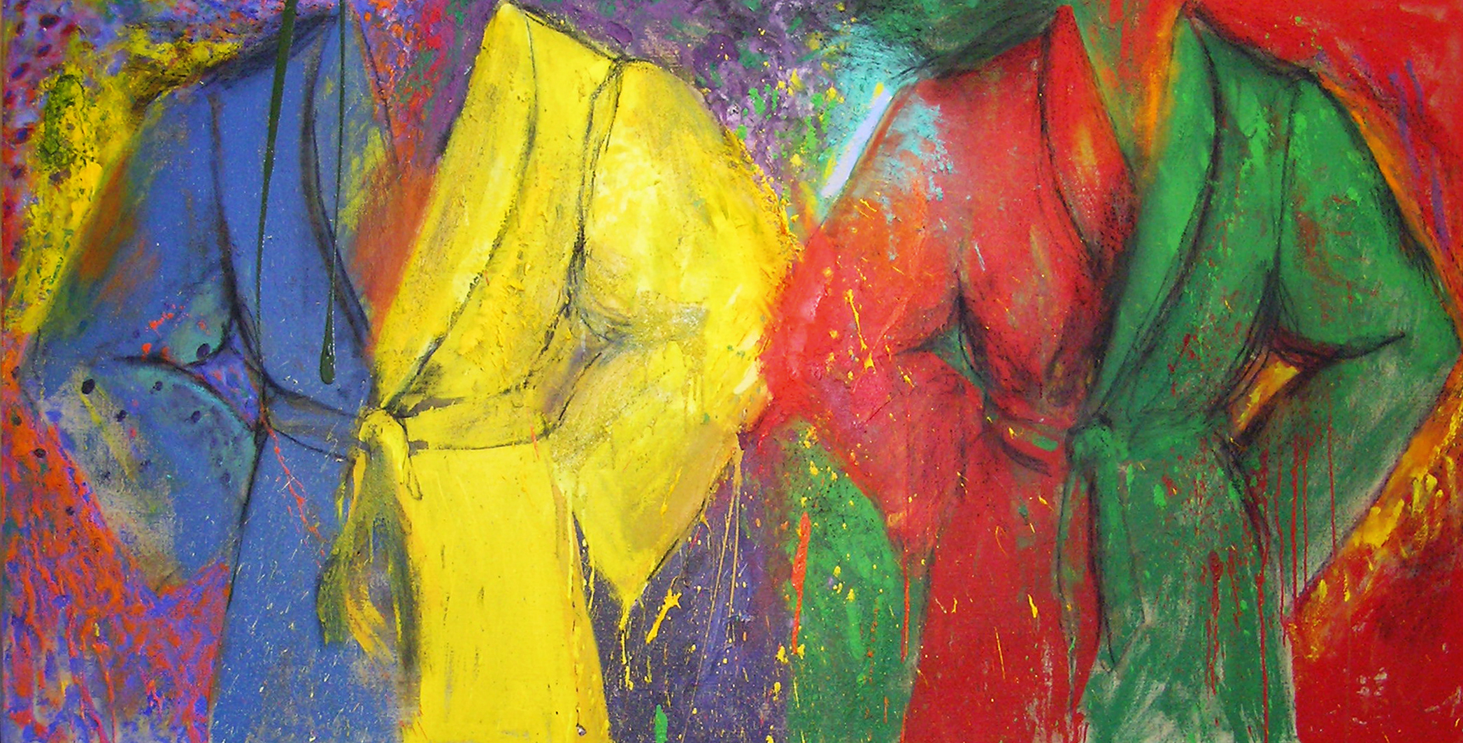 Diptych Jim Dine Robes Painting on Canvas in Primary Colors