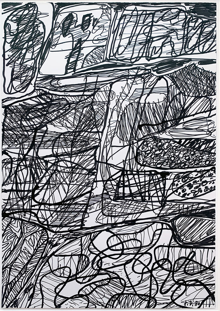 Abstract Jean Dubuffet drawing in black and white ink