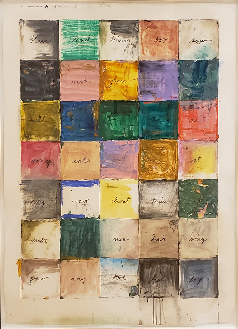 Colorful Jim Dine Painting of Grid with Writing