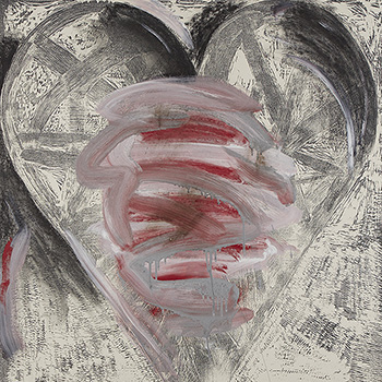 Grey and Red Jim Dine Heart Print Representing Fog