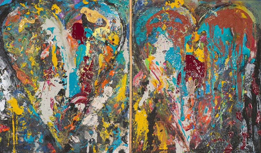 Diptych Jim Dine heart painting with turquoise yellow texture