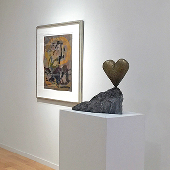 thumbnail of Robert Motherwell painting and Jim Dine sculpture