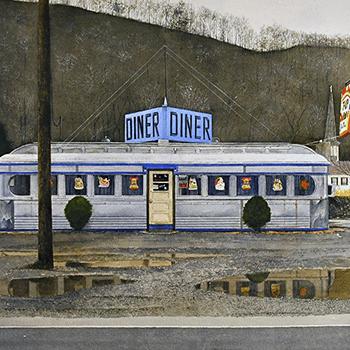 thumbnail of John Baeder painting Jims diner