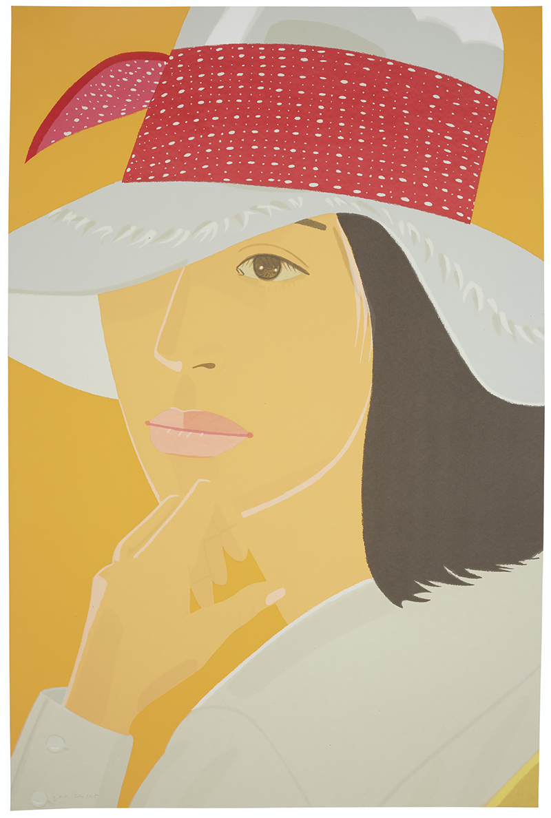 Alex Katz Portrait of Woman in Hat with Red Headband