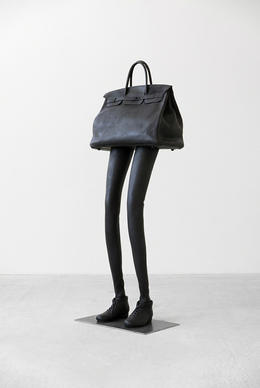 Erwin Wurm Metal sculpture depicted legs and a bag