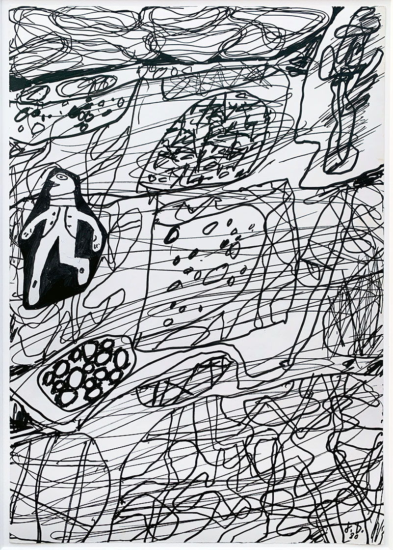 Jean Dubuffet black ink drawing with figure from 1980