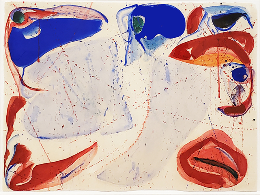 Sam Francis gouache painting in blue and red from blue ball series
