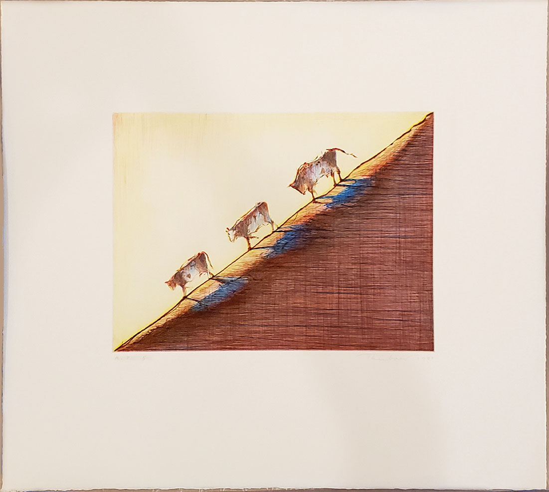 Print by Wayne Thiebaud depicted Three Cows on a Slope