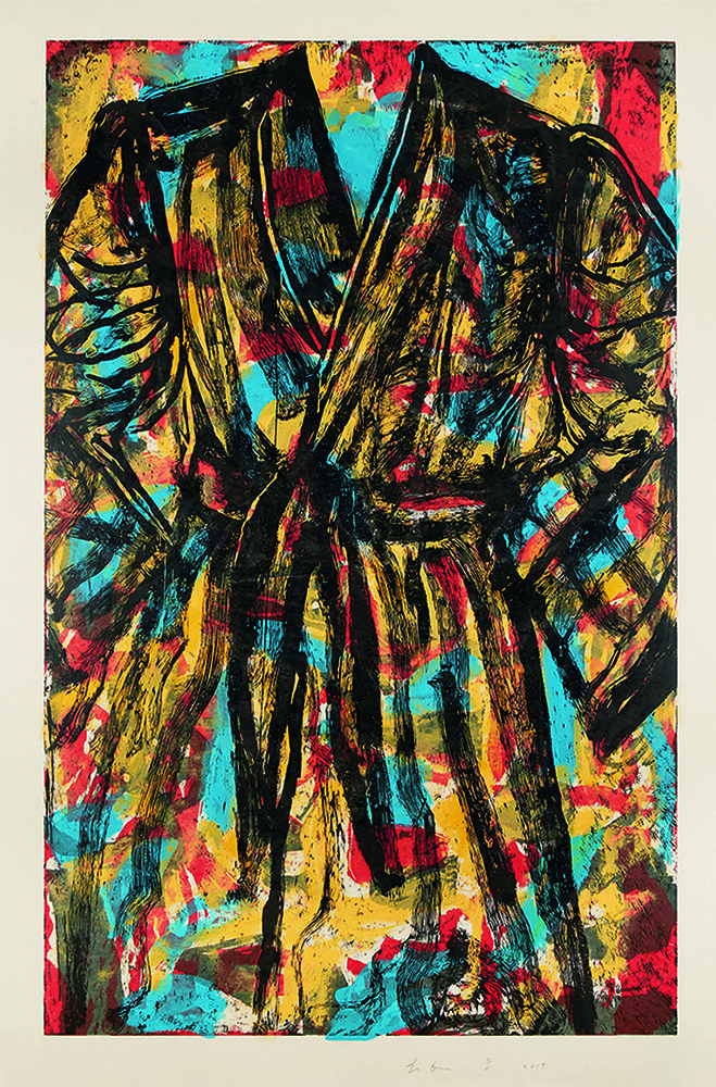 Jim Dine robe print with blue red and black marks