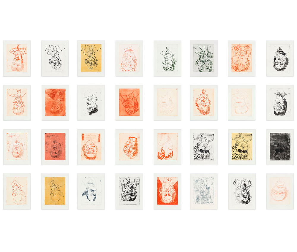 large grid of portraits by Georg Baselitz