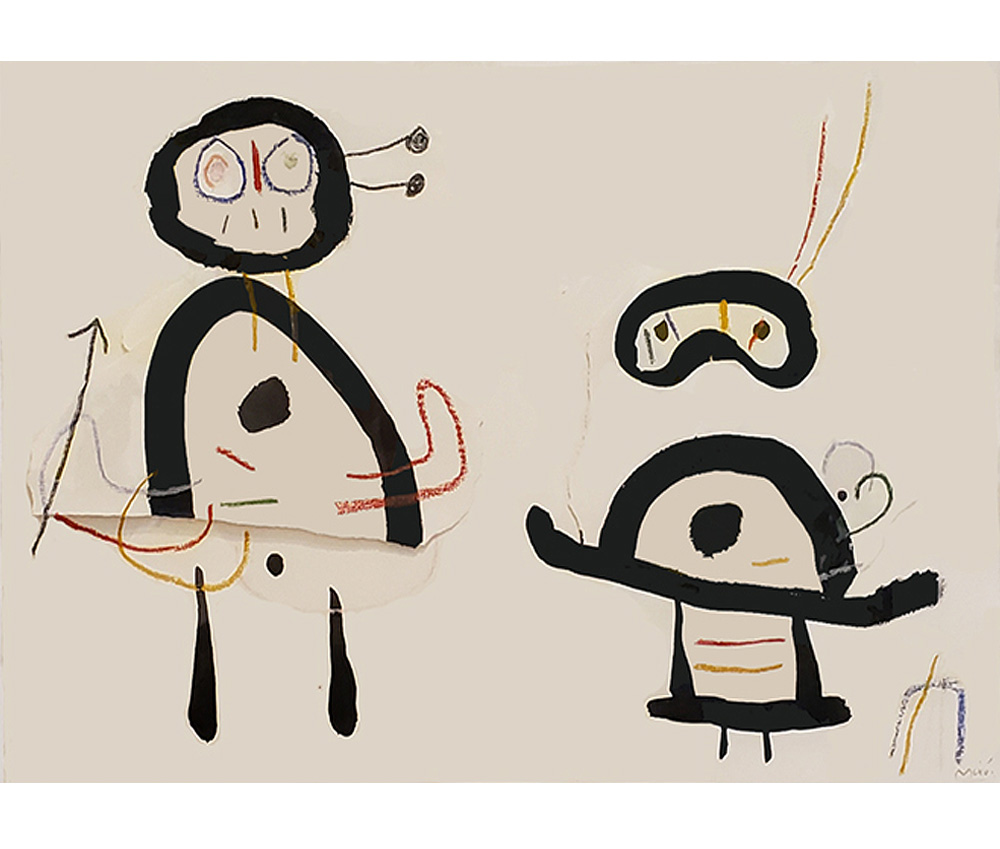 Joan miro ink painting of two figures