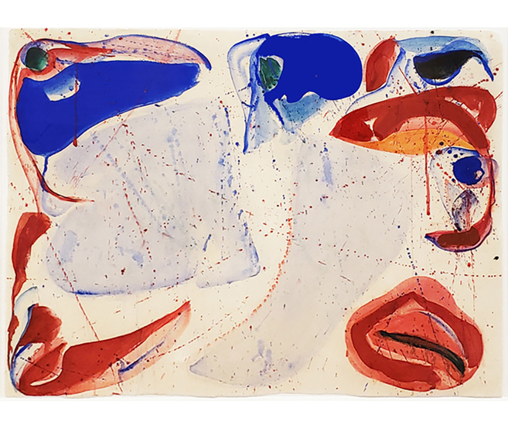 Painting by Sam Francis depicting blue and red abstract elements