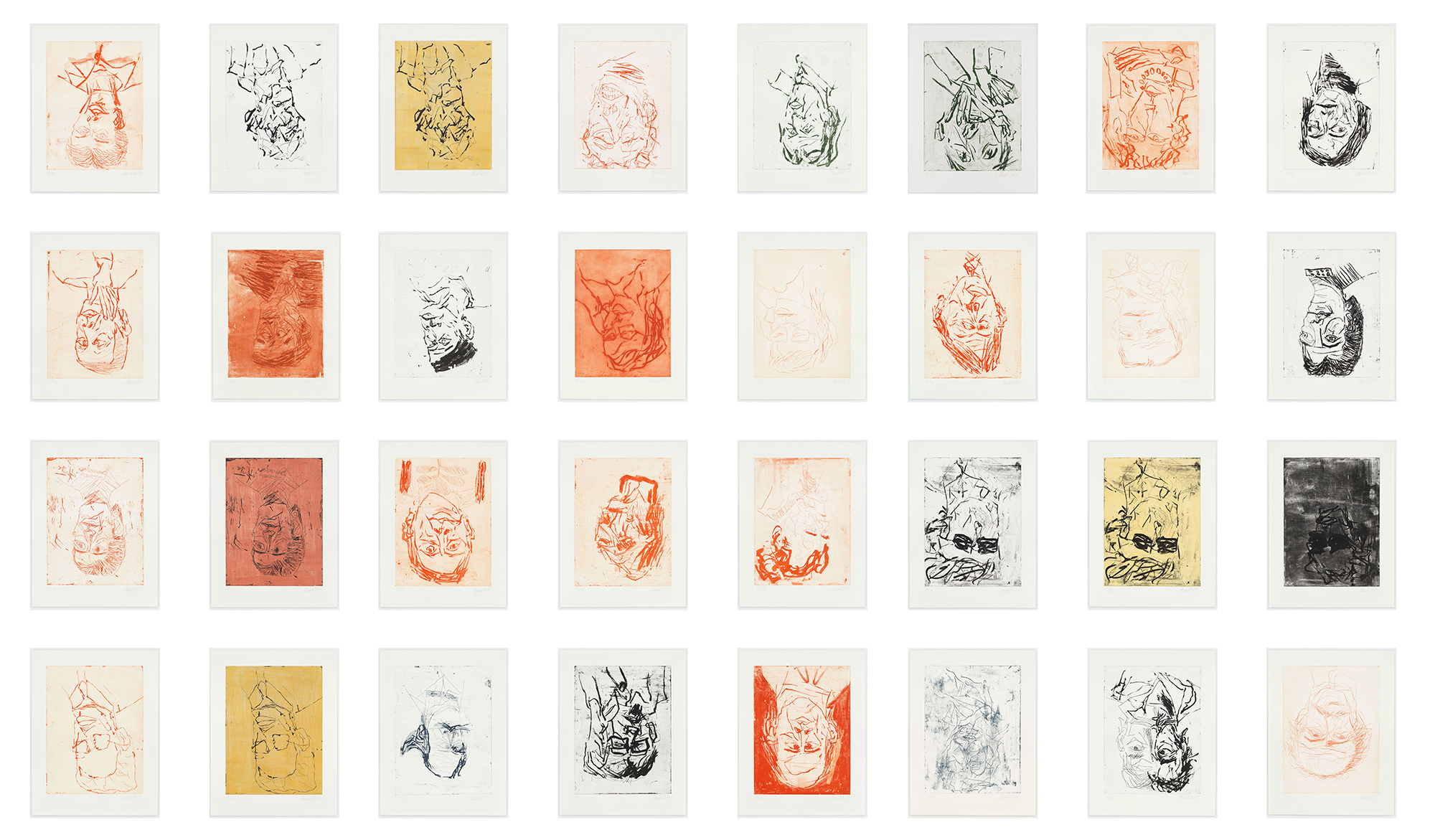 Photo Grid of Baselitz Devotion Print Series