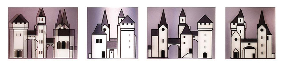 Julian Opie print set of lenticular medieval buildings