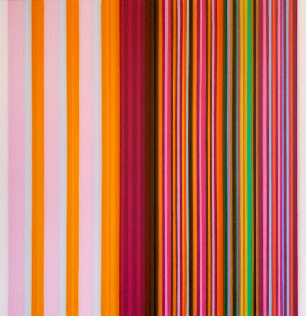 Tim Bavington Painting with Pink Stripes