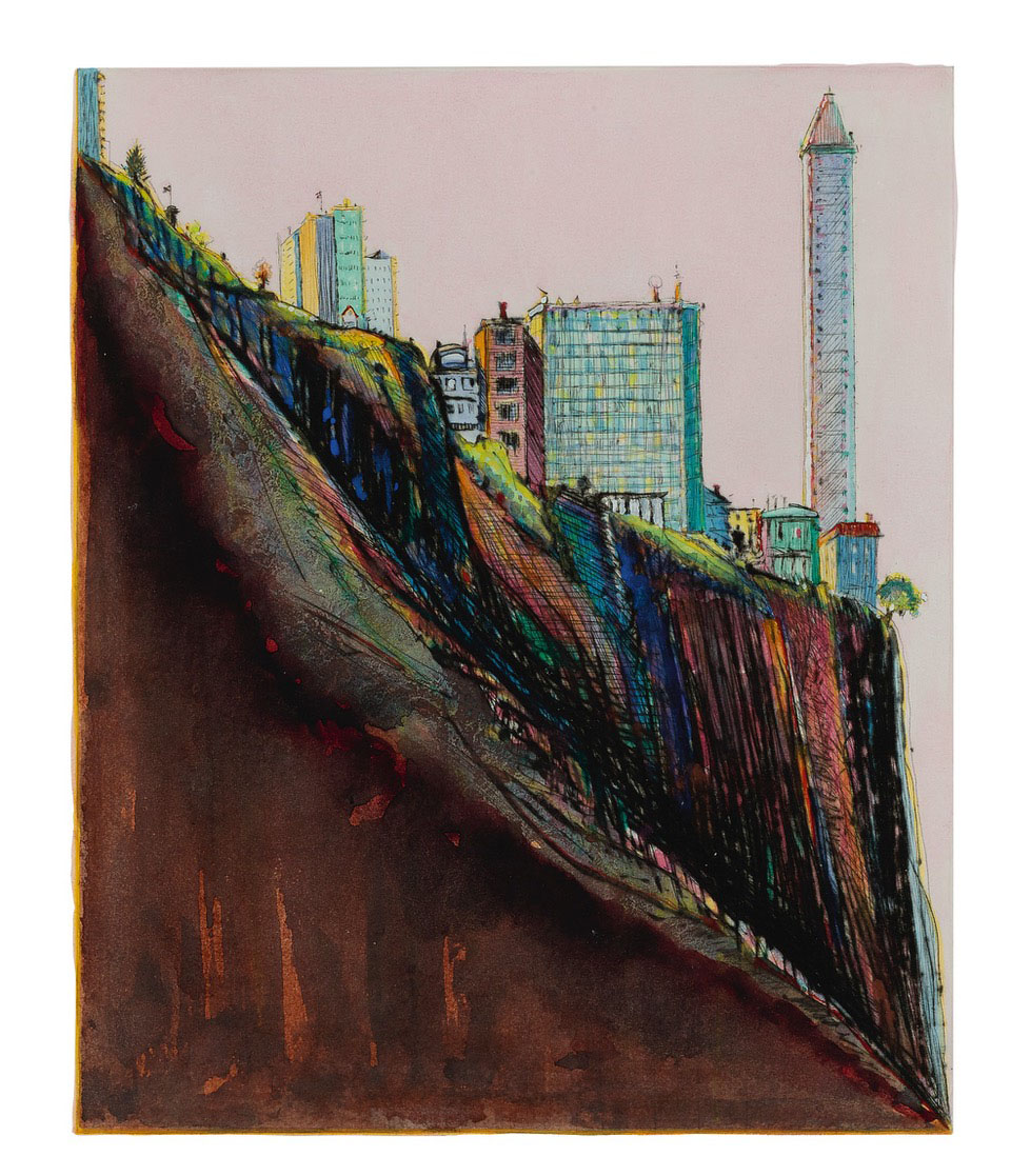 Wayne Thiebaud colorful painting of hillside with buildings