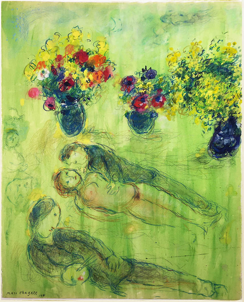 Chagall Pastoral scene painting on paper