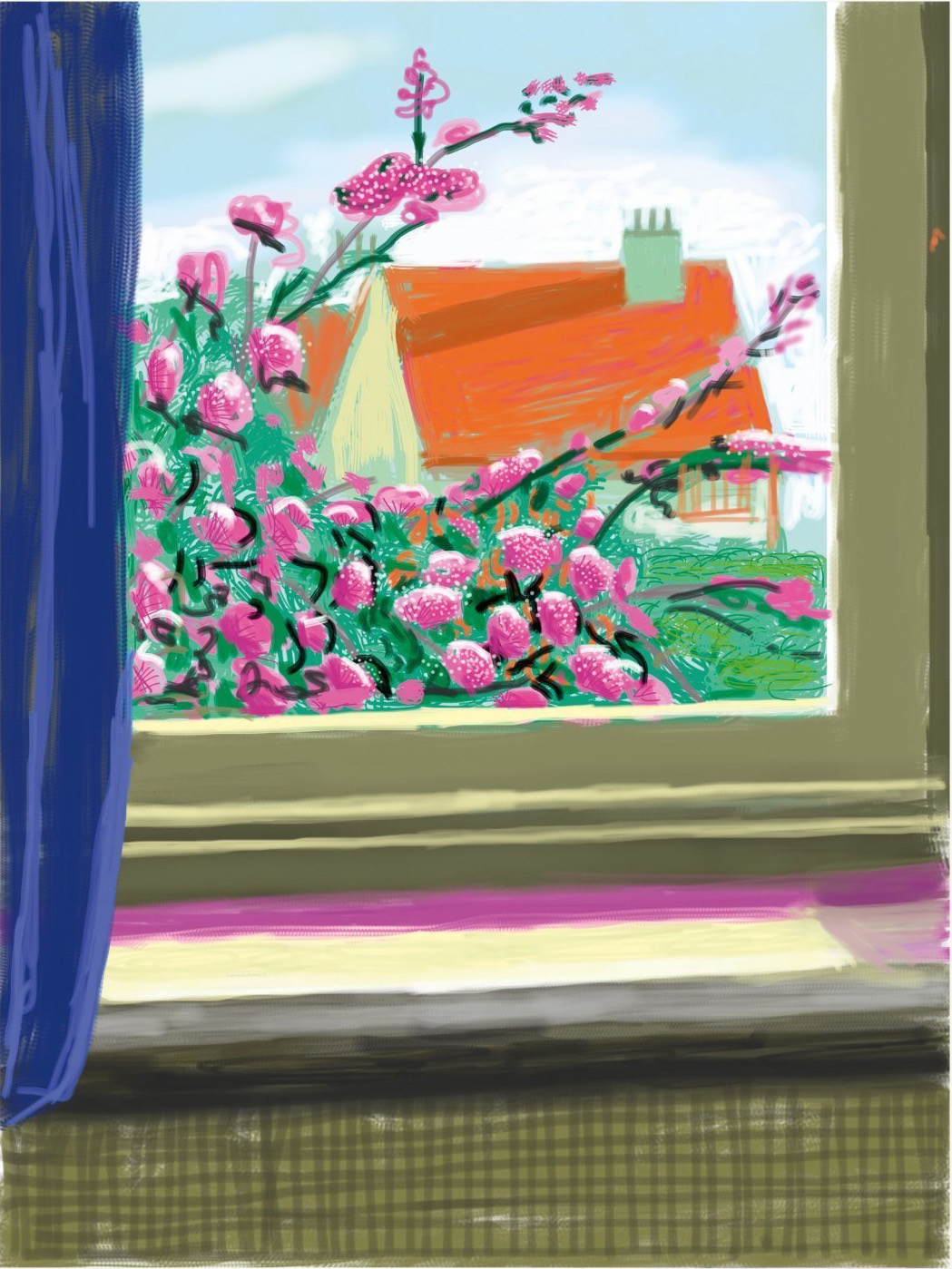 David Hockney colorful iPad print My Window with flowers and roof