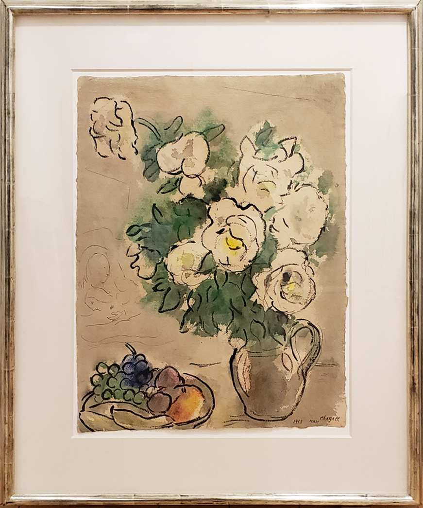 Framed image of Marc Chagall painting of flowers