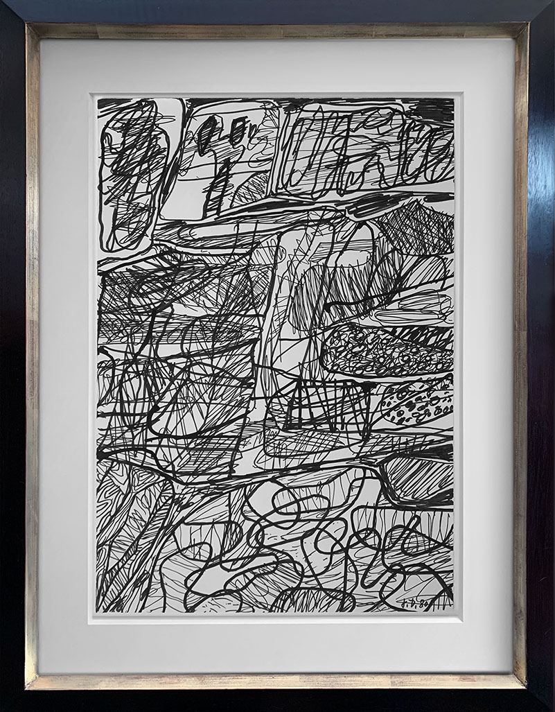 Framed image of Jean Dubuffet black and white work on paper depicting abstraction