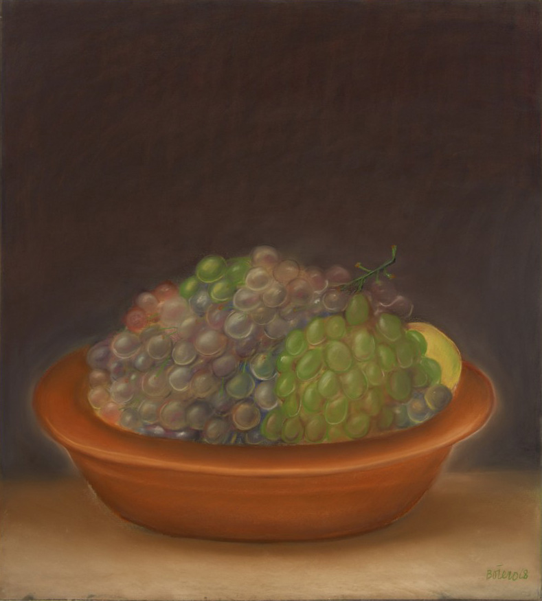 Painting on Paper by Fernando Botero depicting grapes in bowl on dark background