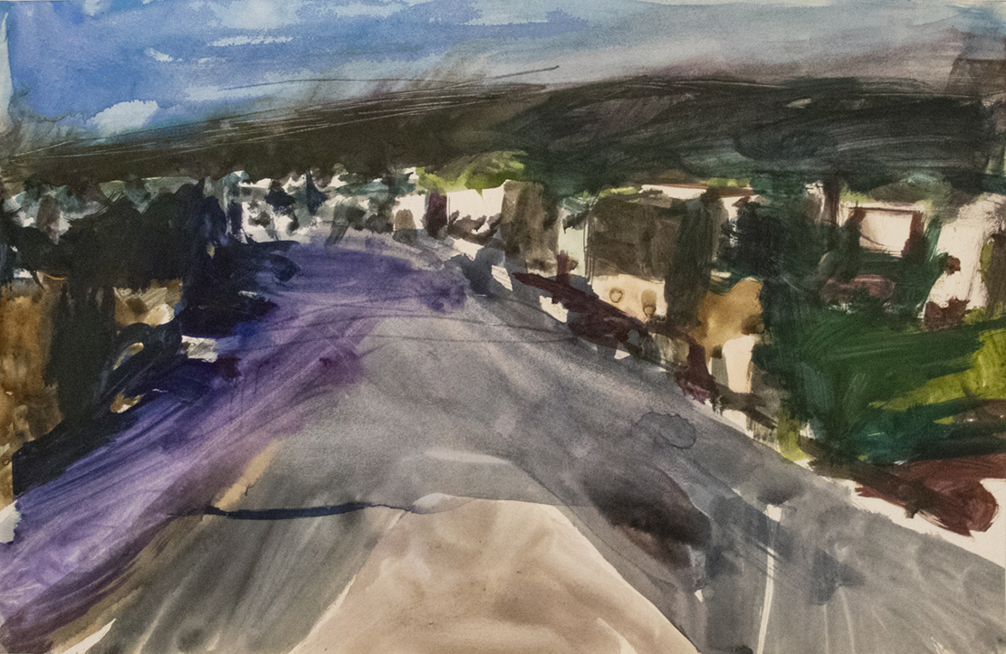 Landscape Painting in purple green and blue by Richard Diebenkorn in watercolor