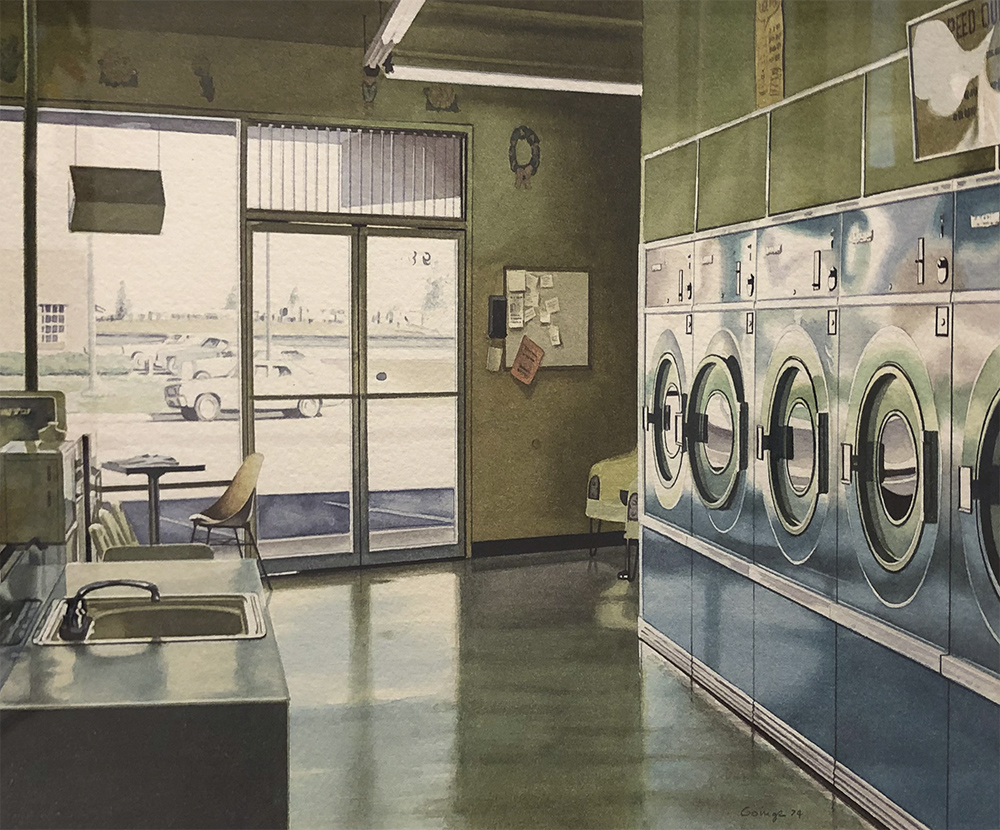 Ralph Goings Photorealist painting in watercolor depicting laundromat