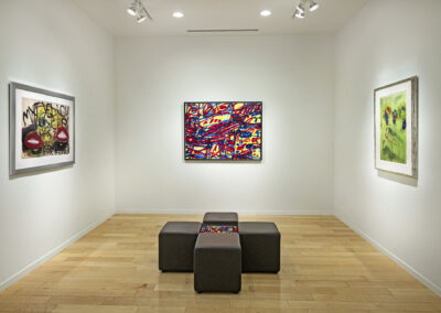 """Installation Image of works in """"On Paper"""" Exhibition by Jim Dine, Jean Dubuffet, and Marc Chagall"""