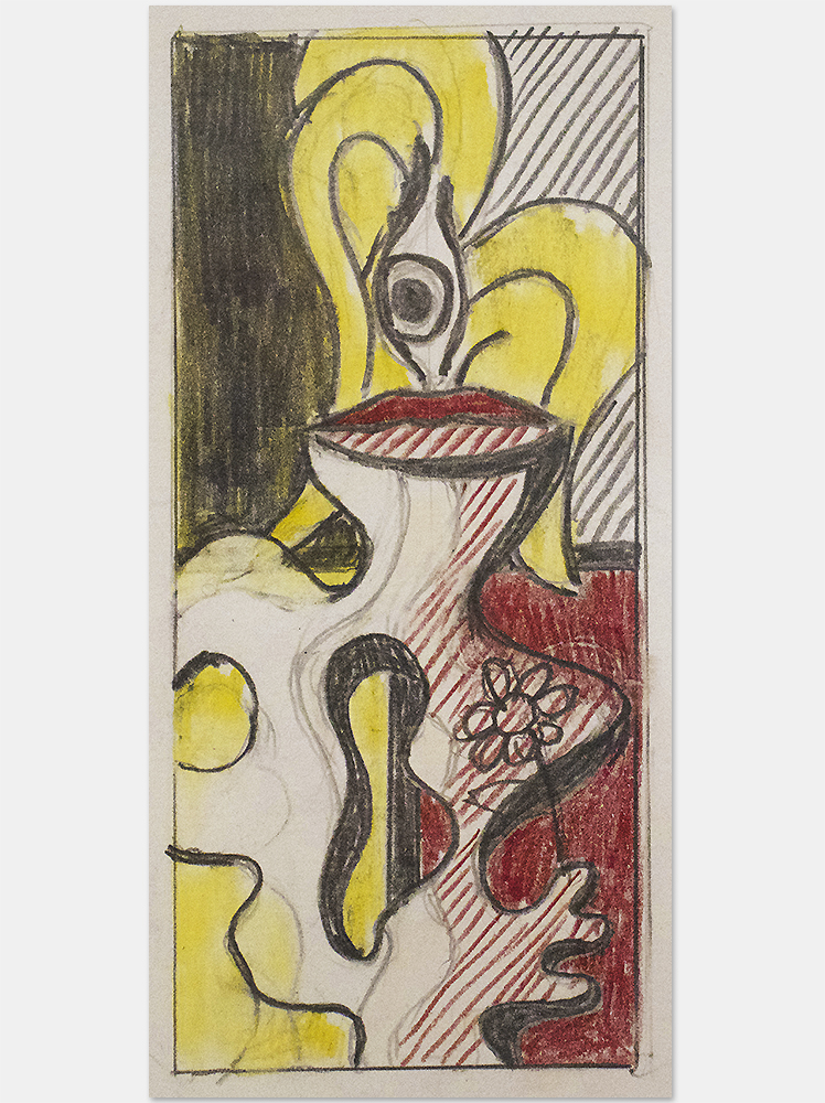 Roy Lichtenstein study and drawing of woman with flower